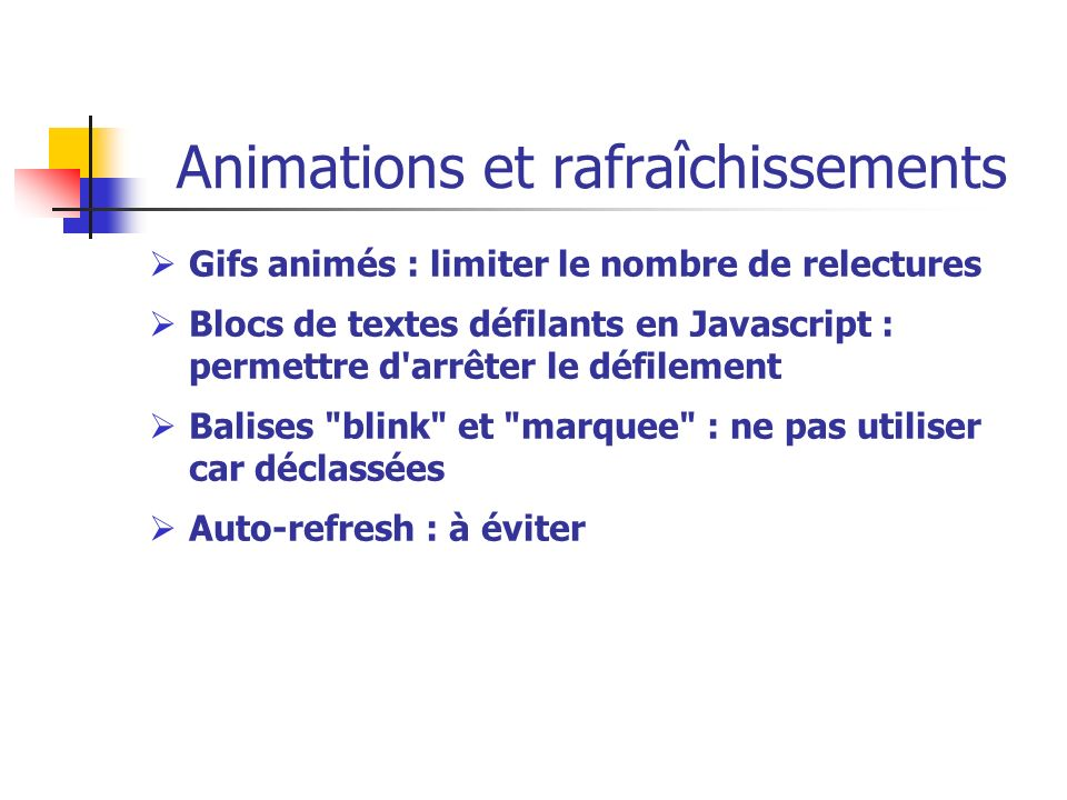 Animations et rafraîchissements