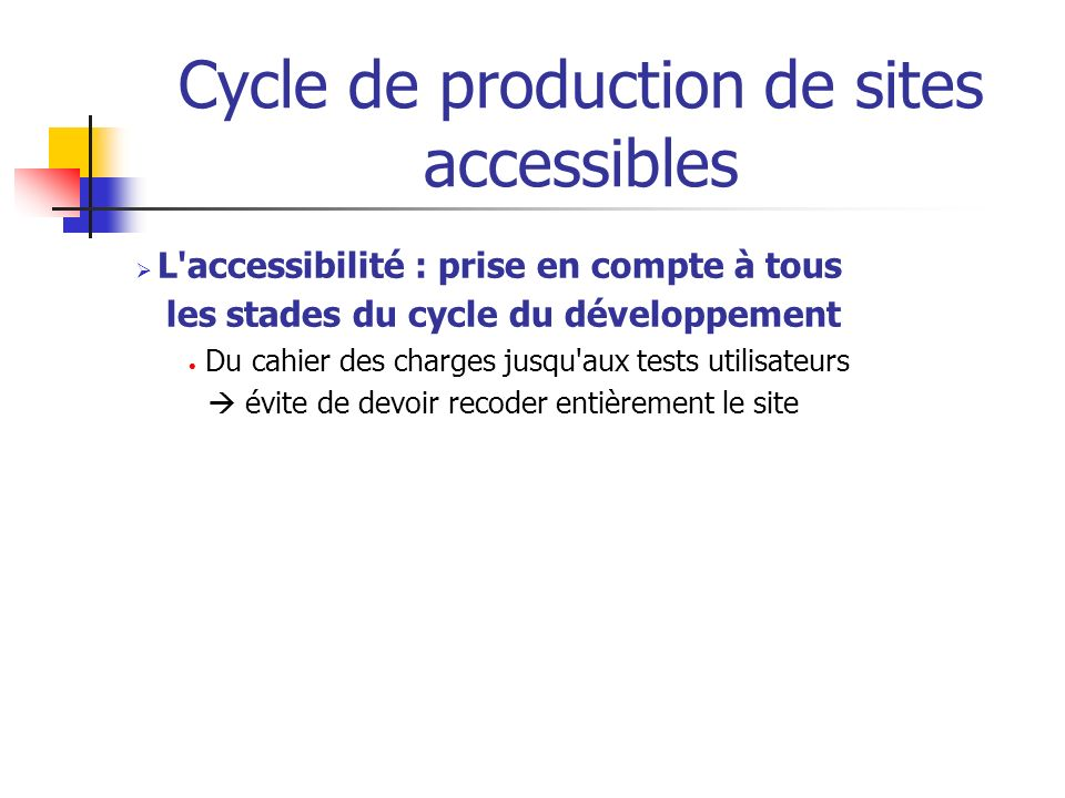Cycle de production de sites accessibles