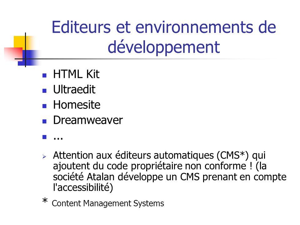 Editeurs et environnements de développement
