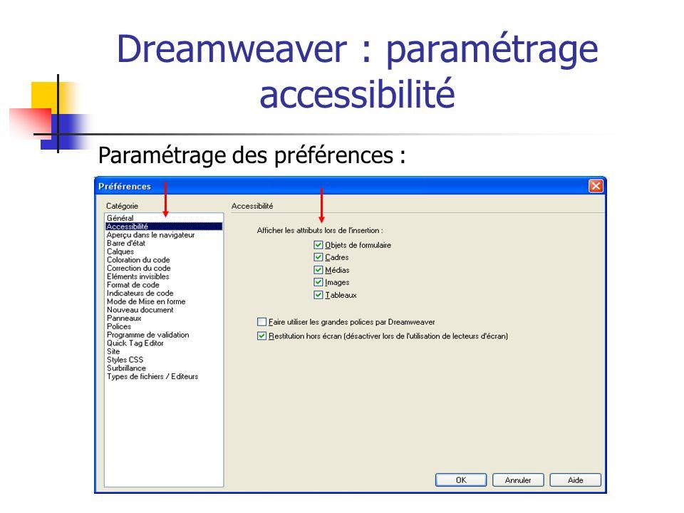 Dreamweaver : paramétrage accessibilité