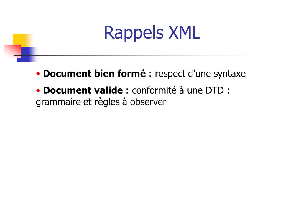 Rappels XML Document bien formé : respect d'une syntaxe
