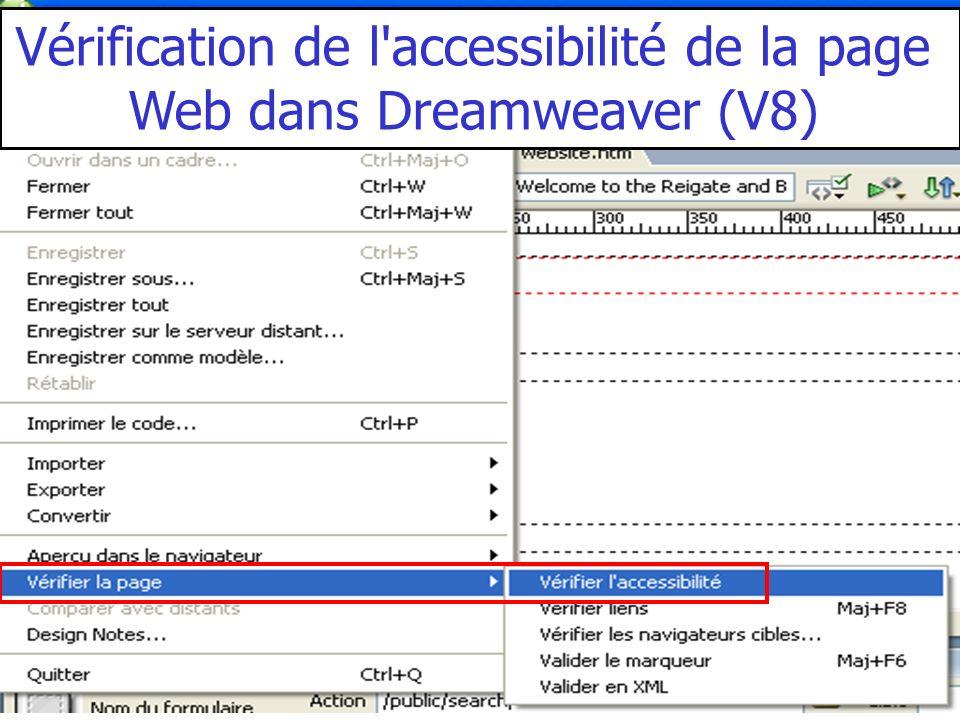 Vérification de l accessibilité de la page Web dans Dreamweaver (V8)