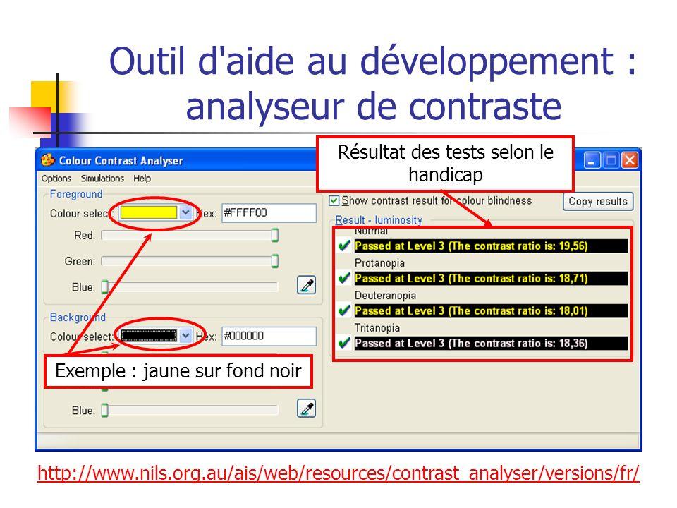Outil d aide au développement : analyseur de contraste