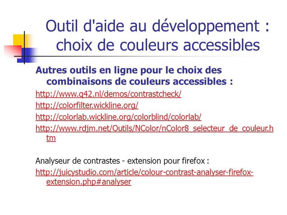 Outil d aide au développement : choix de couleurs accessibles