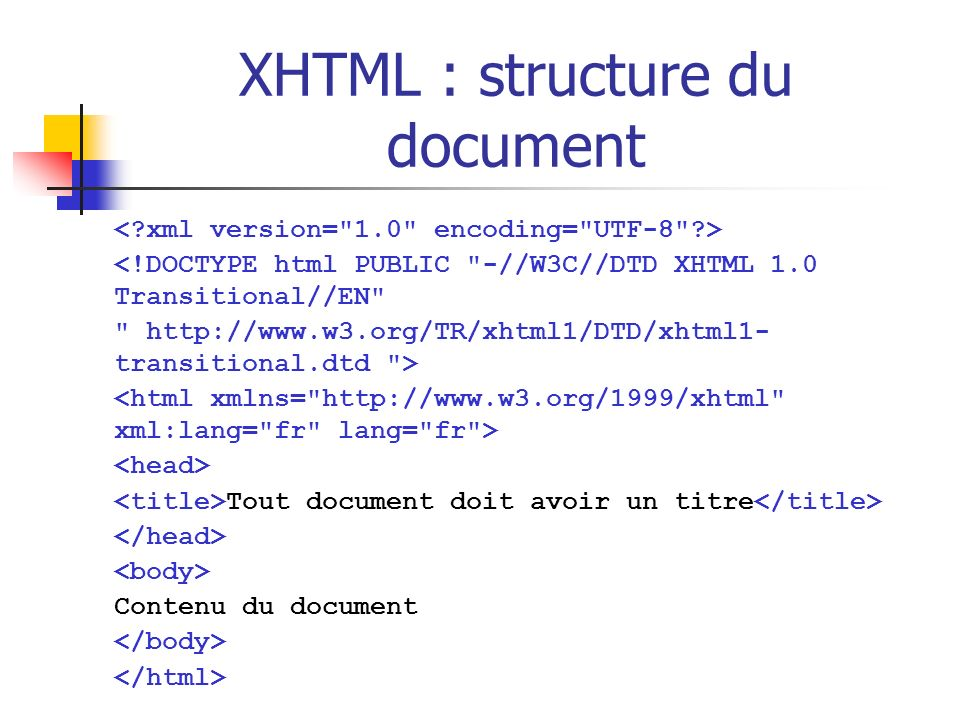 XHTML : structure du document