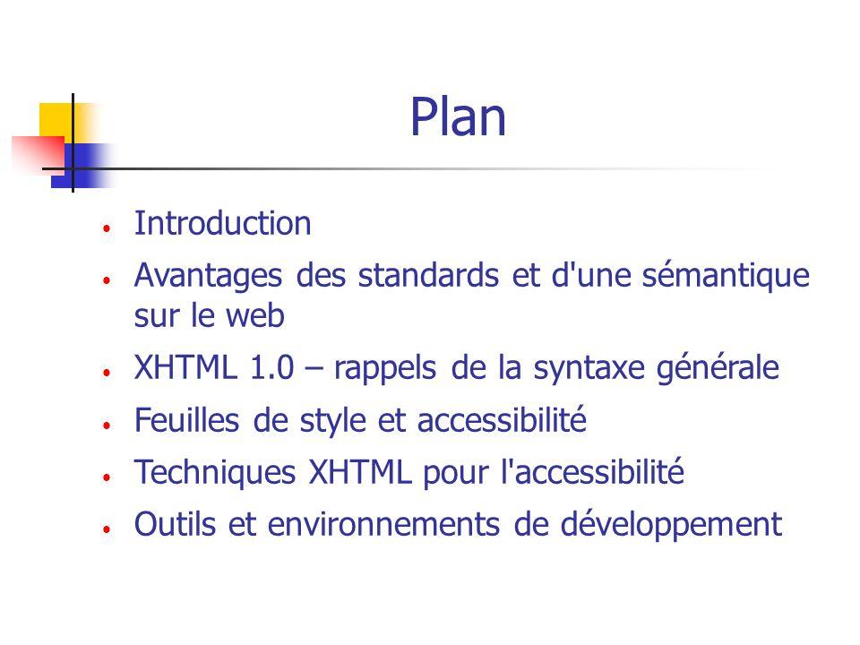 Plan Introduction. Avantages des standards et d une sémantique sur le web. XHTML 1.0 – rappels de la syntaxe générale.
