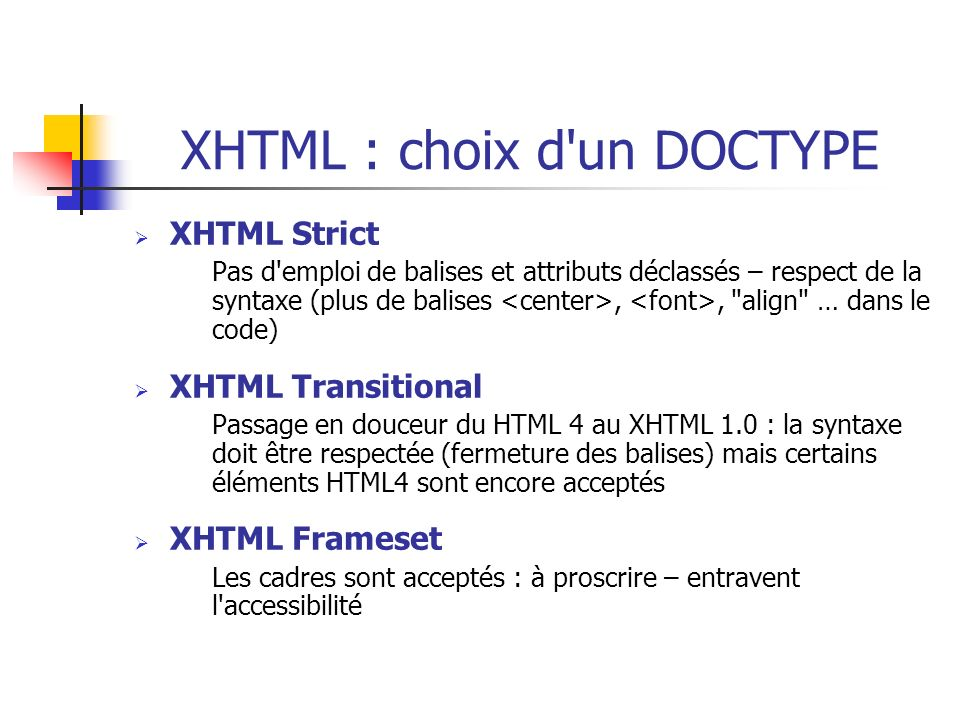 XHTML : choix d un DOCTYPE