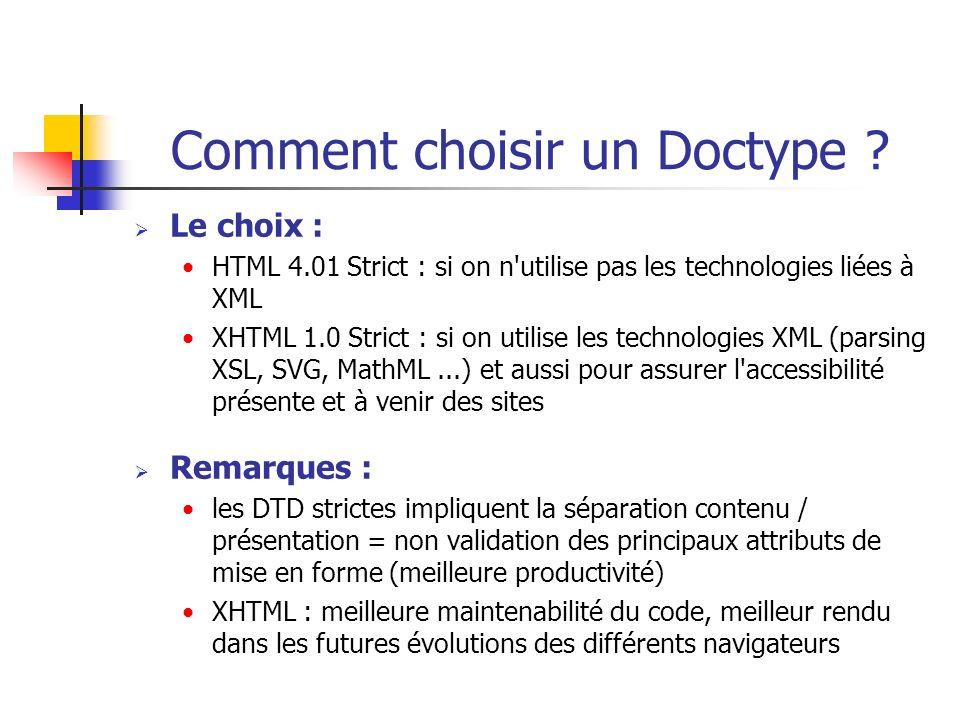 Comment choisir un Doctype