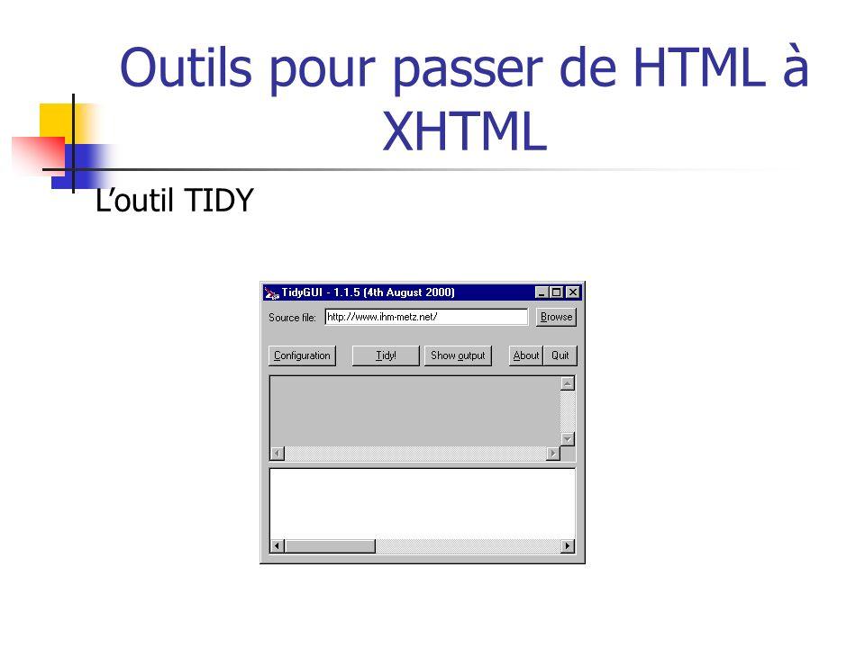 Outils pour passer de HTML à XHTML