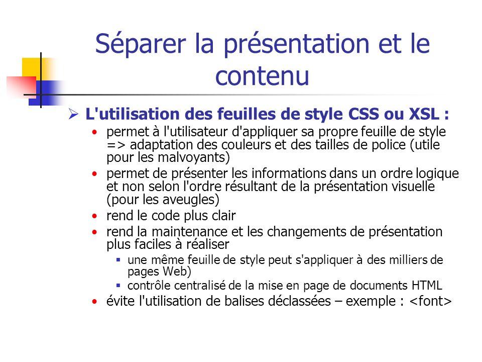Séparer la présentation et le contenu