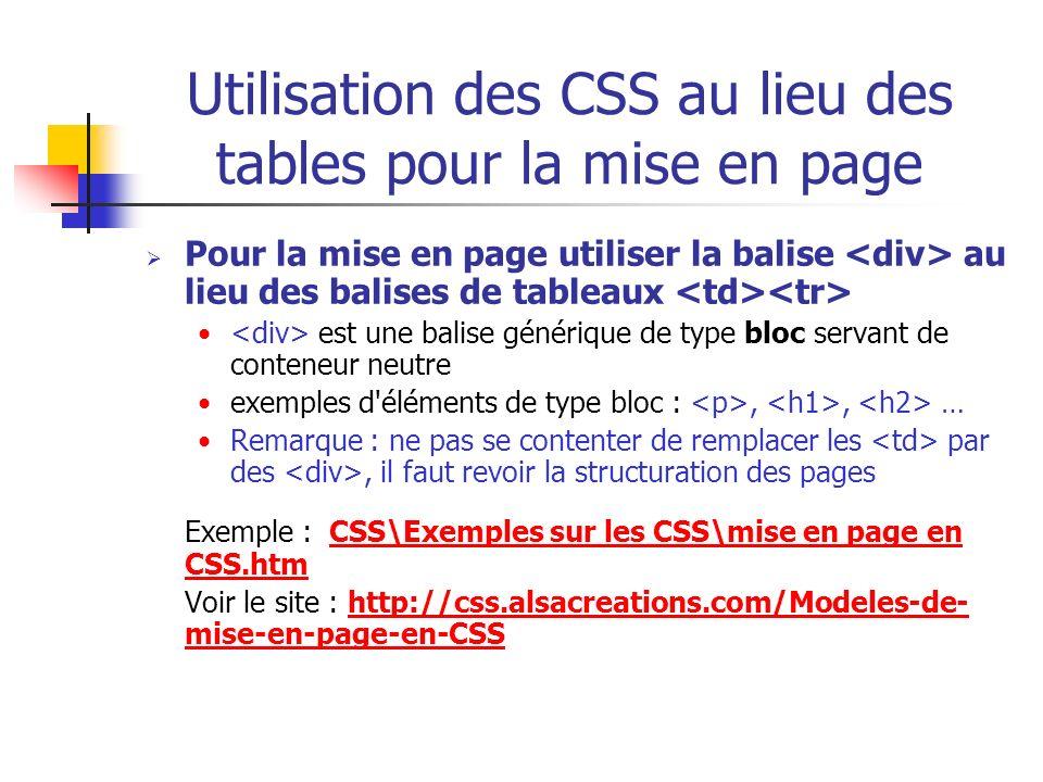 Utilisation des CSS au lieu des tables pour la mise en page