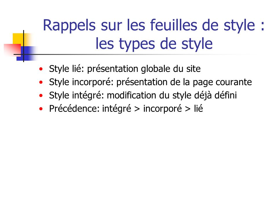 Rappels sur les feuilles de style : les types de style
