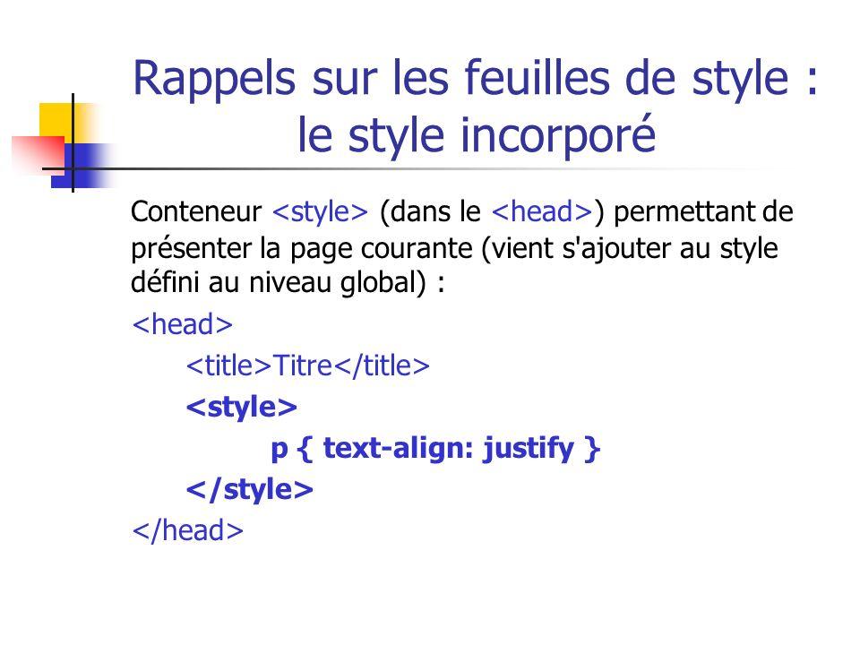 Rappels sur les feuilles de style : le style incorporé