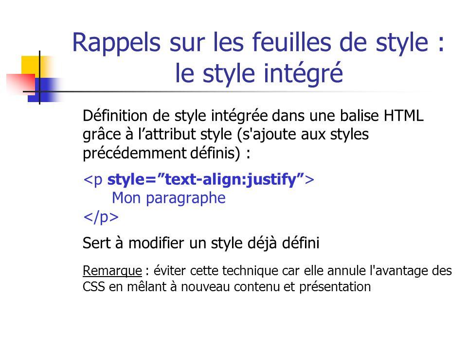 Rappels sur les feuilles de style : le style intégré