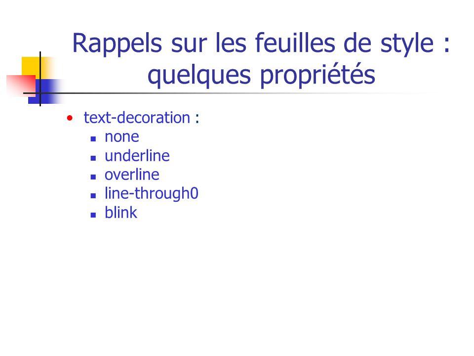 Rappels sur les feuilles de style : quelques propriétés