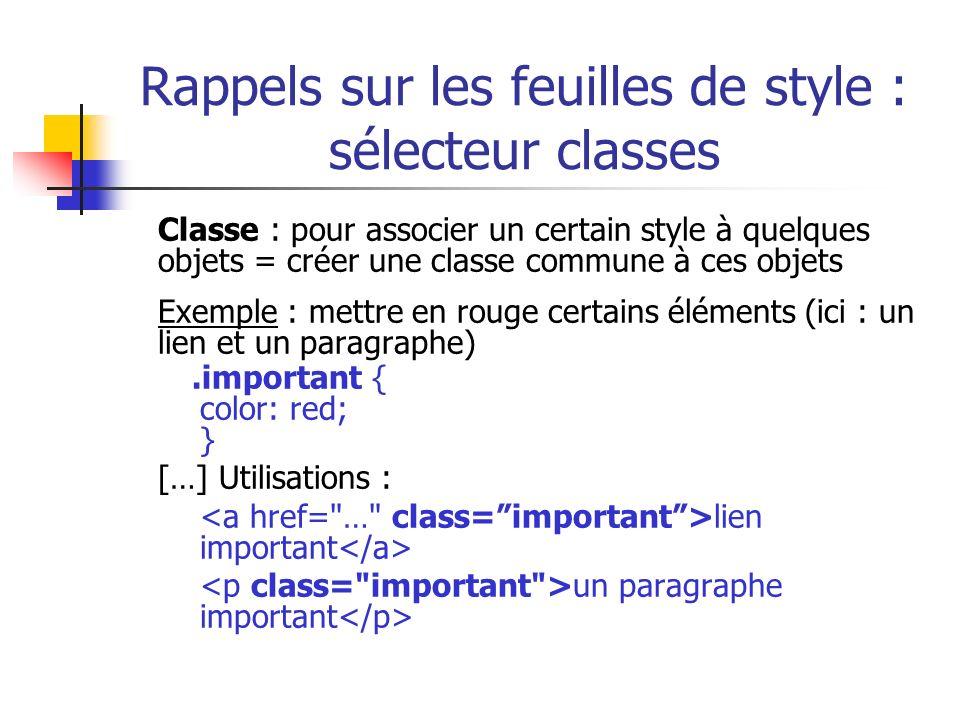 Rappels sur les feuilles de style : sélecteur classes