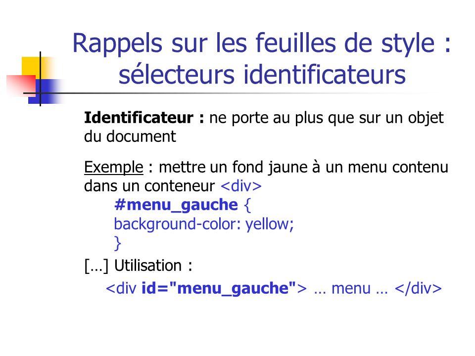 Rappels sur les feuilles de style : sélecteurs identificateurs
