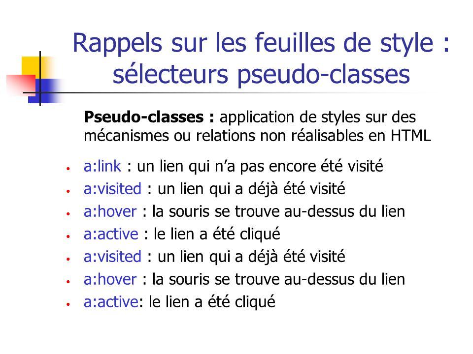 Rappels sur les feuilles de style : sélecteurs pseudo-classes