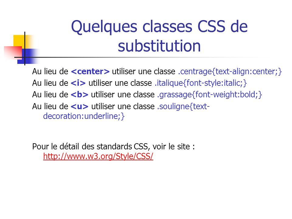 Quelques classes CSS de substitution