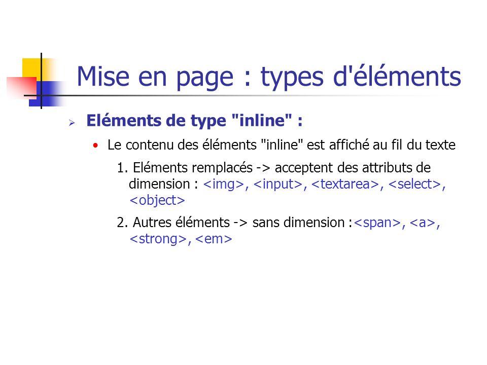 Mise en page : types d éléments