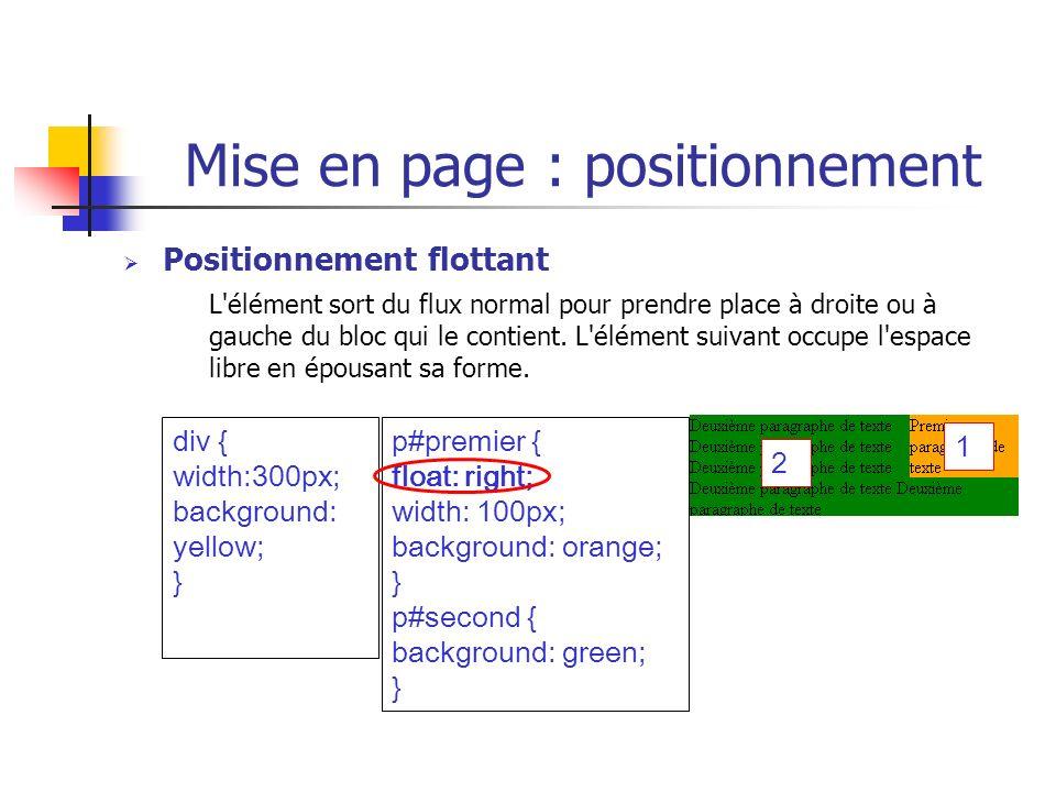 Mise en page : positionnement