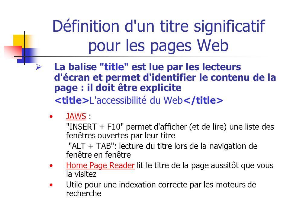 Définition d un titre significatif pour les pages Web