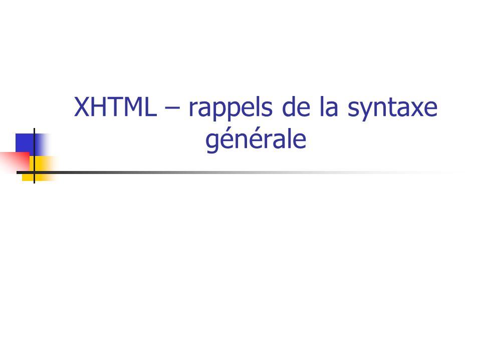XHTML – rappels de la syntaxe générale