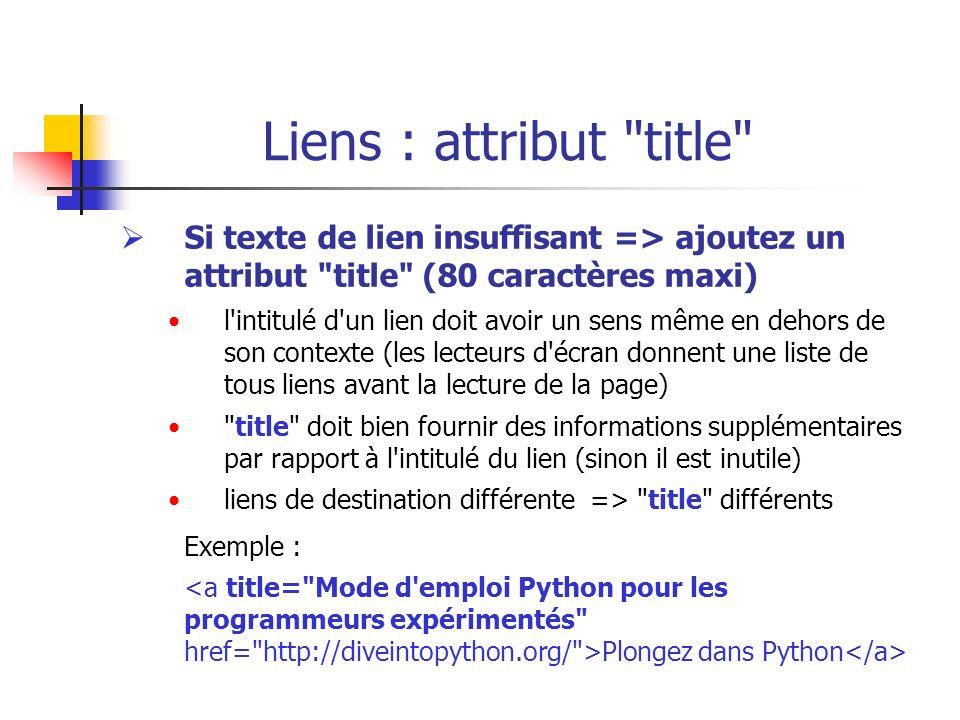 Liens : attribut title Si texte de lien insuffisant => ajoutez un attribut title (80 caractères maxi)