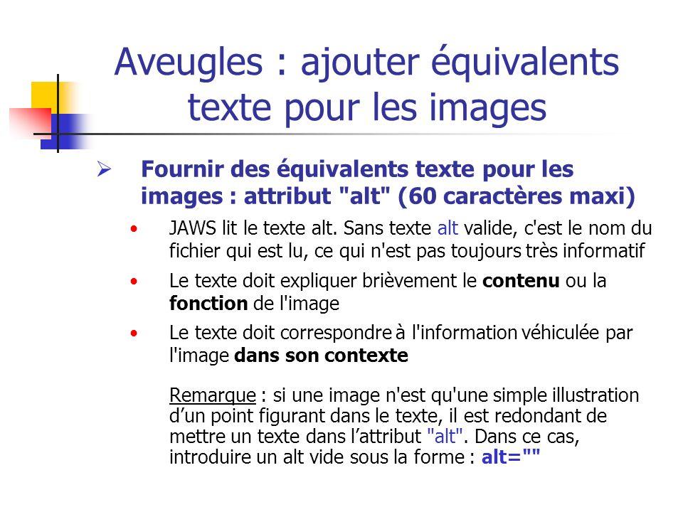 Aveugles : ajouter équivalents texte pour les images