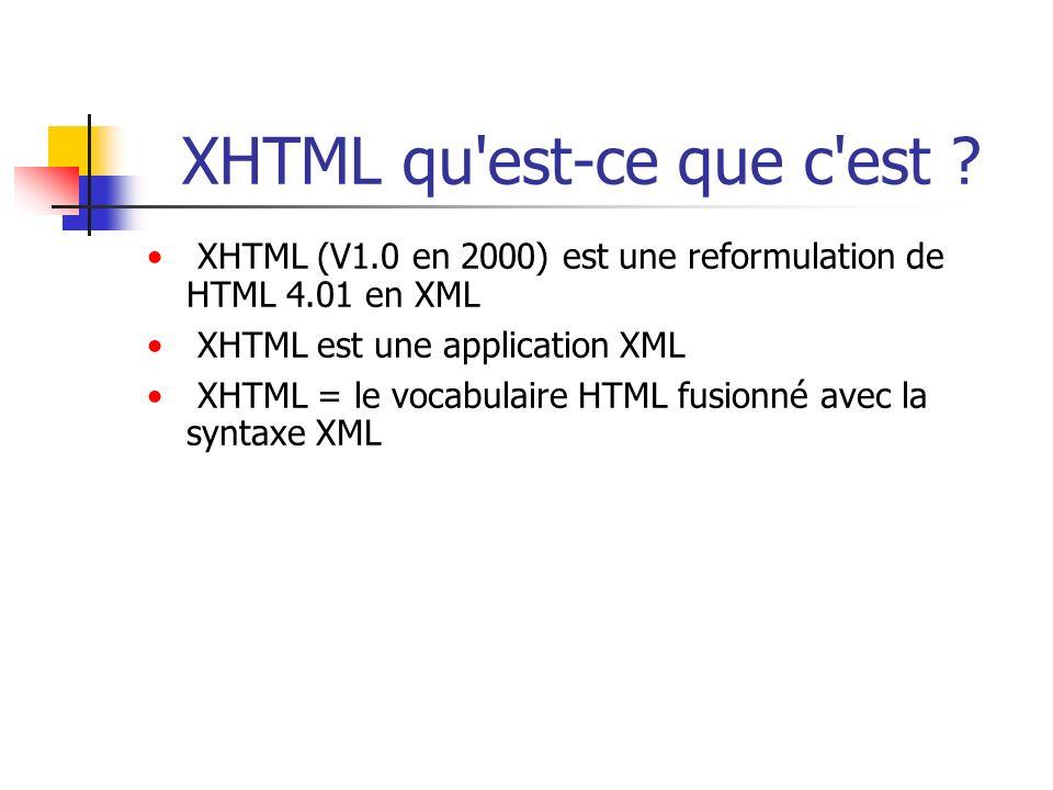 XHTML qu est-ce que c est