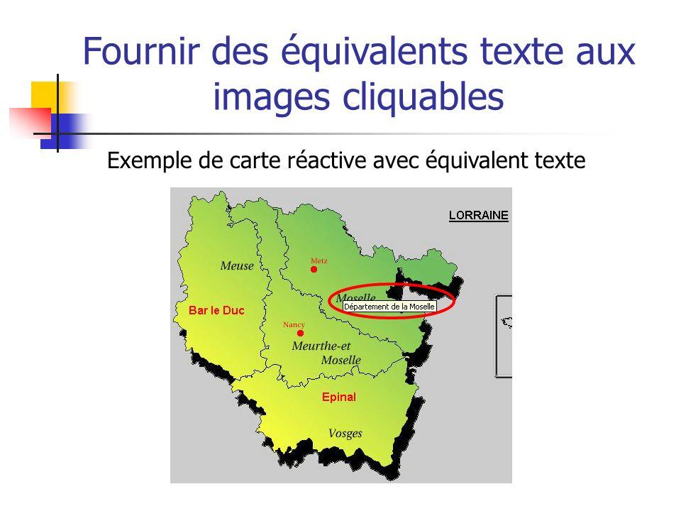 Fournir des équivalents texte aux images cliquables