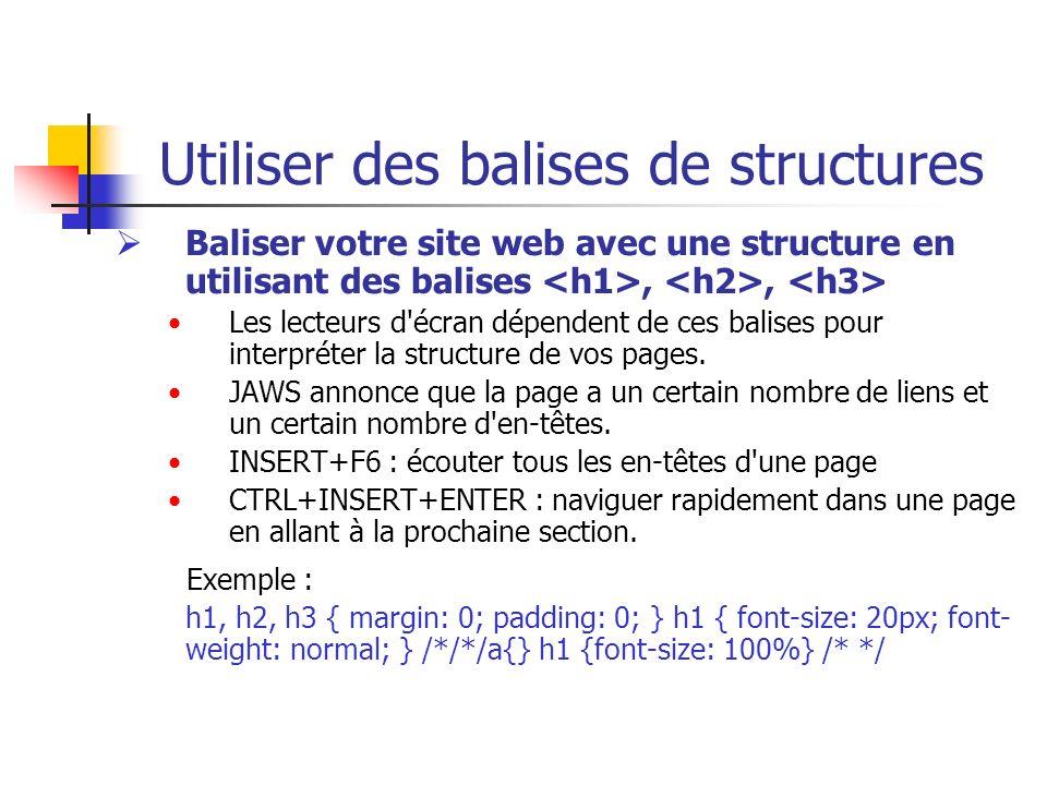 Utiliser des balises de structures