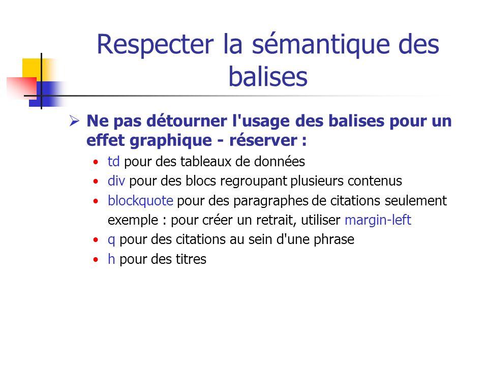 Respecter la sémantique des balises