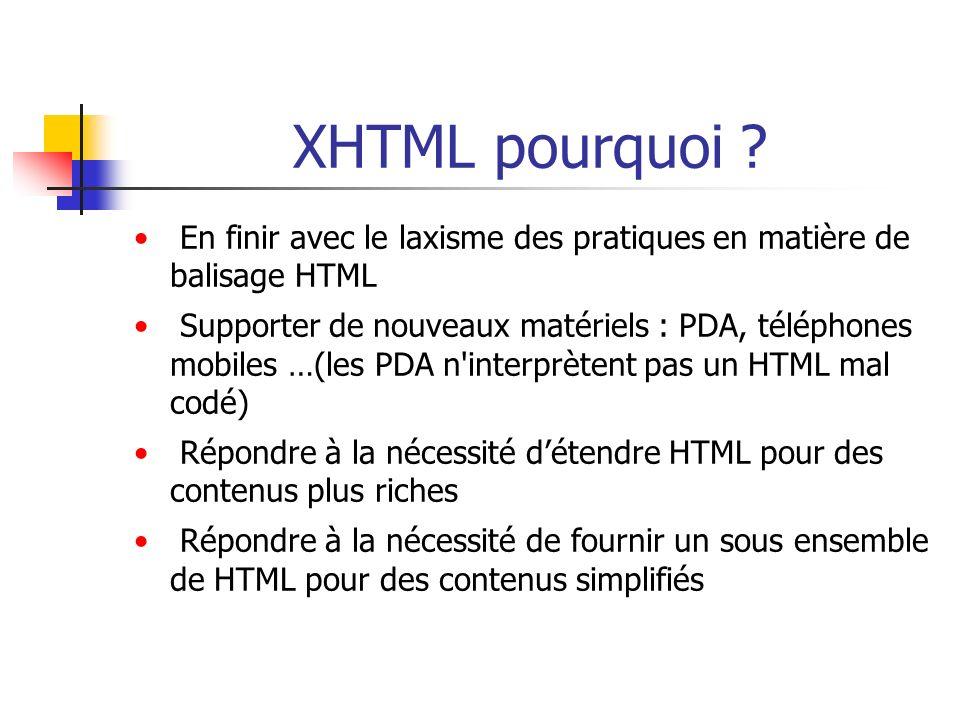 XHTML pourquoi En finir avec le laxisme des pratiques en matière de balisage HTML.