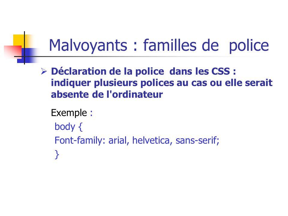Malvoyants : familles de police