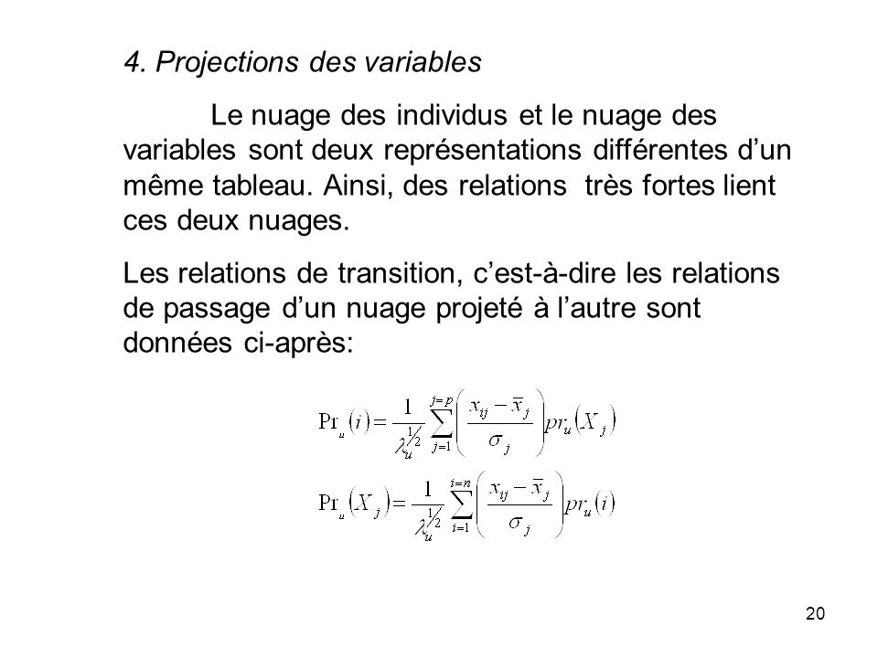 4. Projections des variables