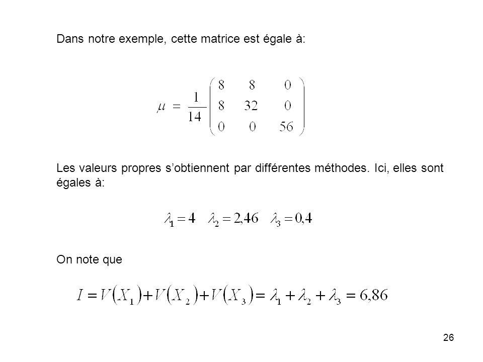 Dans notre exemple, cette matrice est égale à: