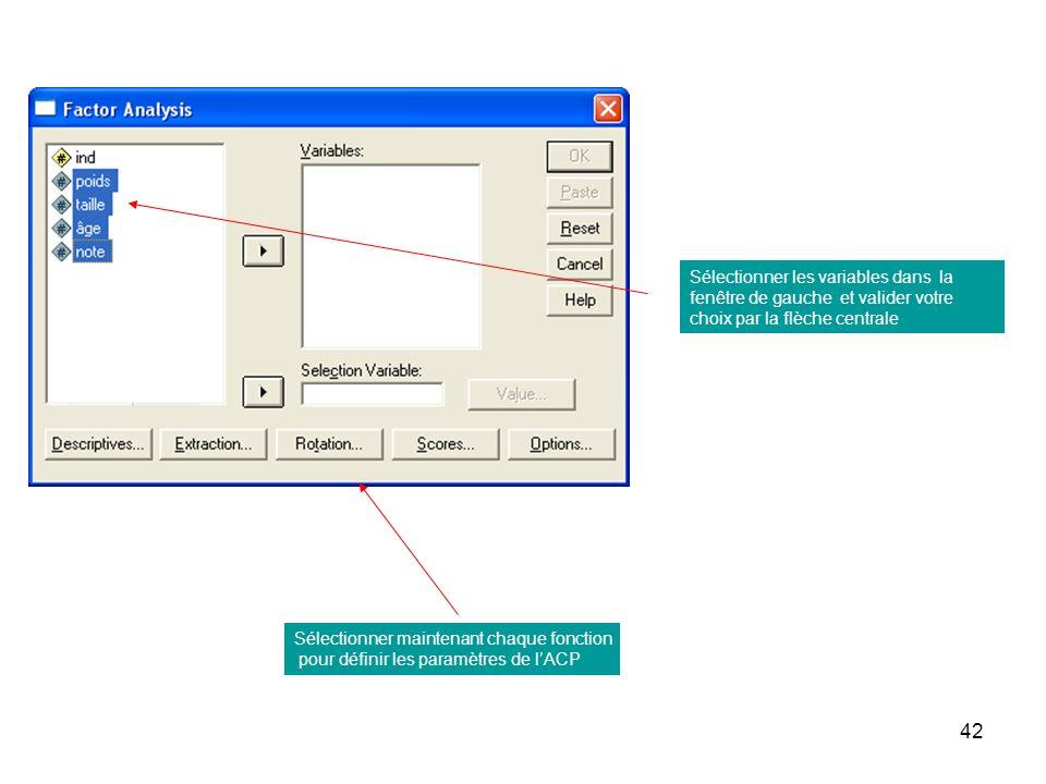 Sélectionner les variables dans la fenêtre de gauche et valider votre choix par la flèche centrale