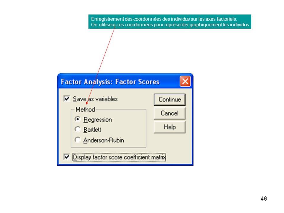 Enregistrement des coordonnées des individus sur les axes factoriels.