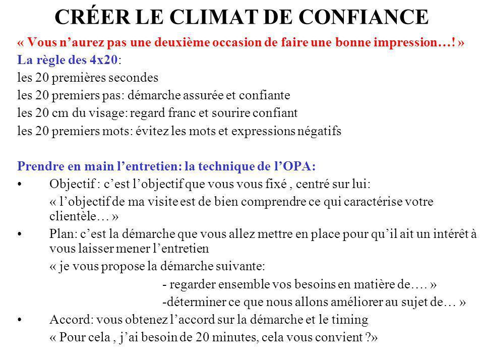 CRÉER LE CLIMAT DE CONFIANCE