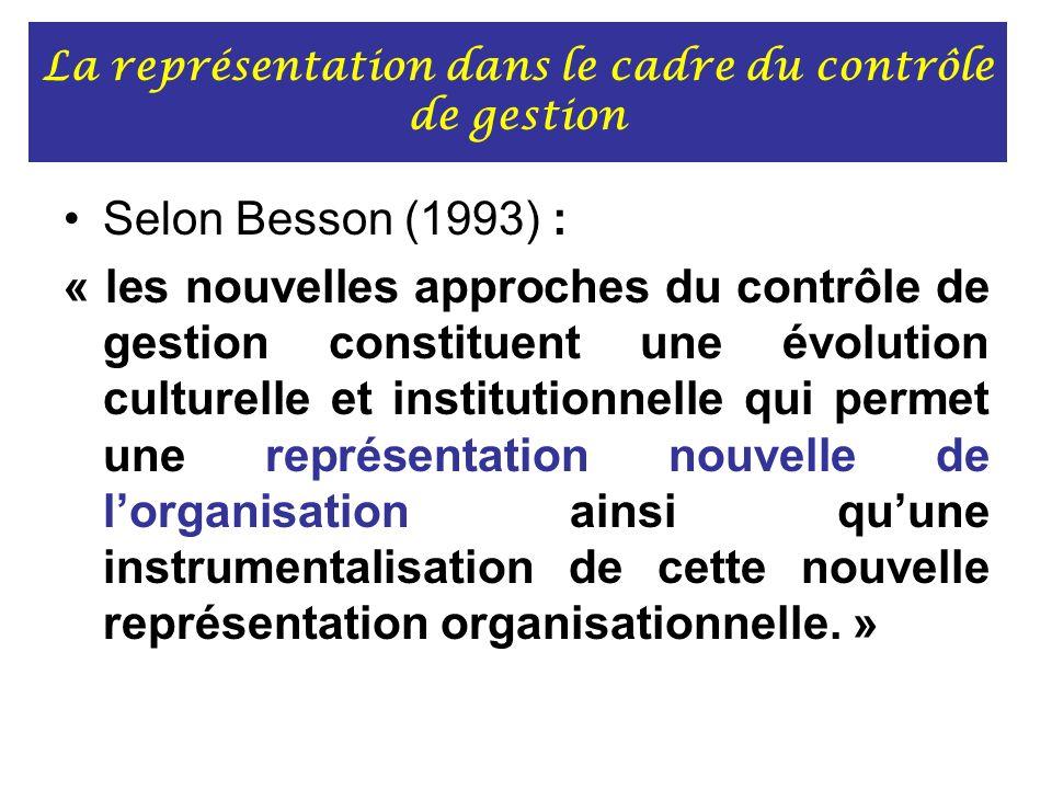 La représentation dans le cadre du contrôle de gestion