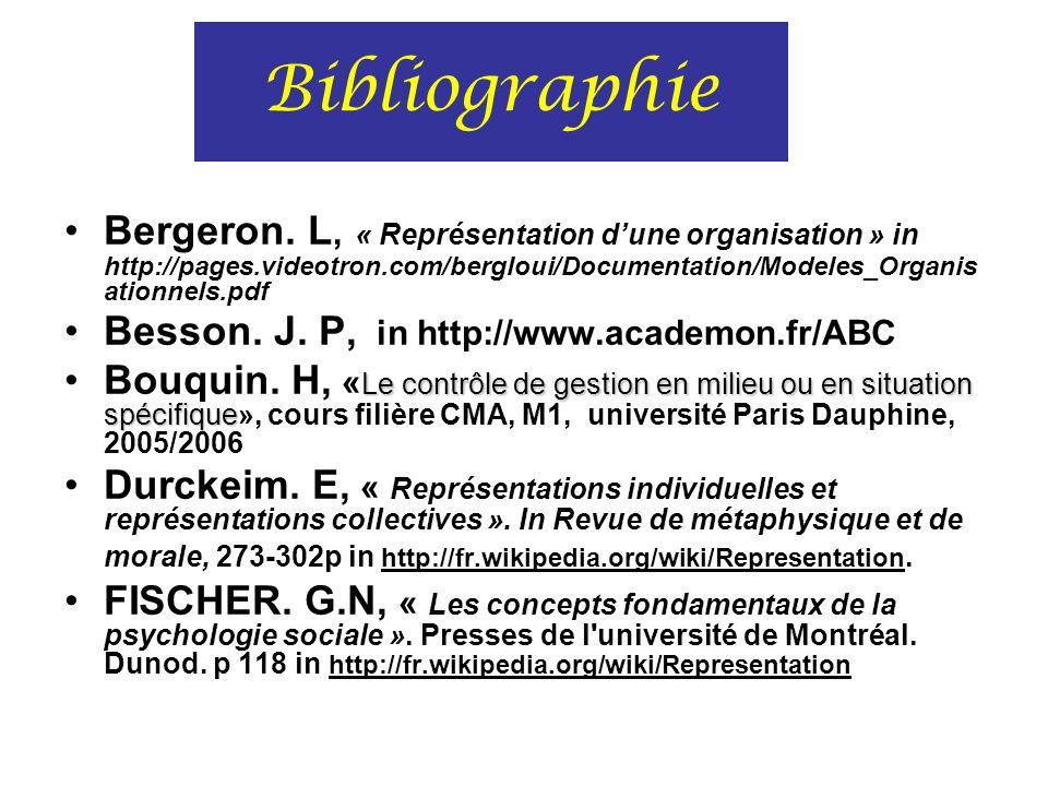 Bibliographie Bergeron. L, « Représentation d'une organisation » in http://pages.videotron.com/bergloui/Documentation/Modeles_Organisationnels.pdf.