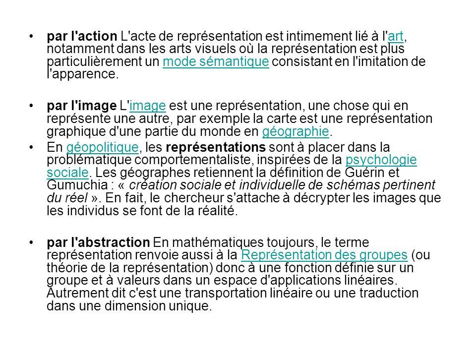 par l action L acte de représentation est intimement lié à l art, notamment dans les arts visuels où la représentation est plus particulièrement un mode sémantique consistant en l imitation de l apparence.