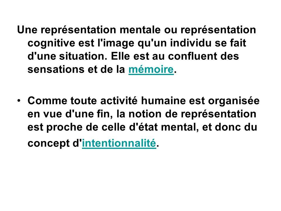Une représentation mentale ou représentation cognitive est l image qu un individu se fait d une situation. Elle est au confluent des sensations et de la mémoire.