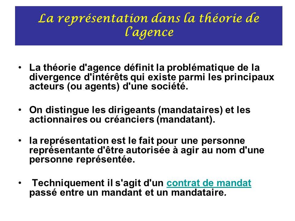 La représentation dans la théorie de l'agence