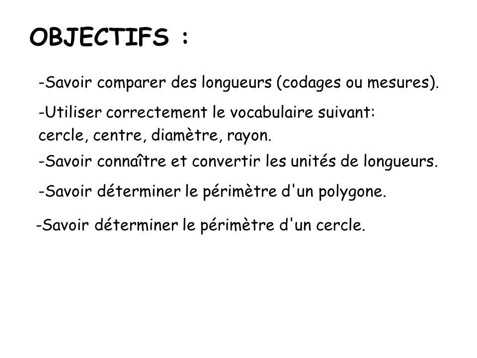 OBJECTIFS : Savoir comparer des longueurs (codages ou mesures).
