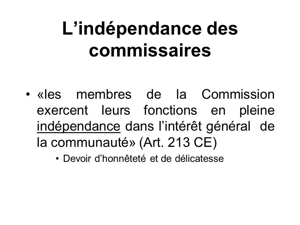 L'indépendance des commissaires