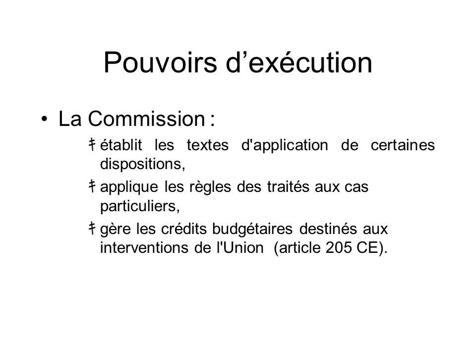 Pouvoirs d'exécution La Commission :