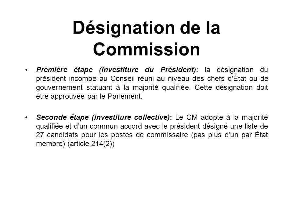 Désignation de la Commission