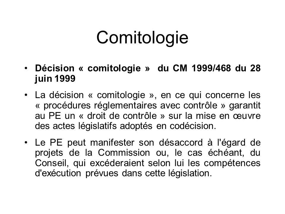 Comitologie Décision « comitologie » du CM 1999/468 du 28 juin 1999